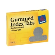 "Avery Gummed Tabs with Reinforced Cloth, 1/2"" ext., Gray, 25/Box (59112)"