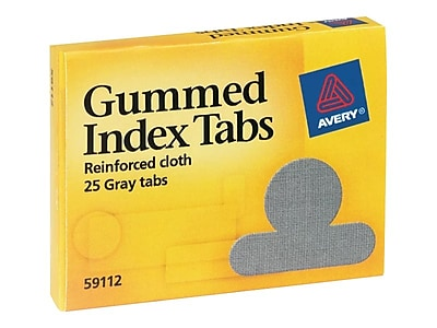Avery Gummed Tabs with Reinforced Cloth, 1/2
