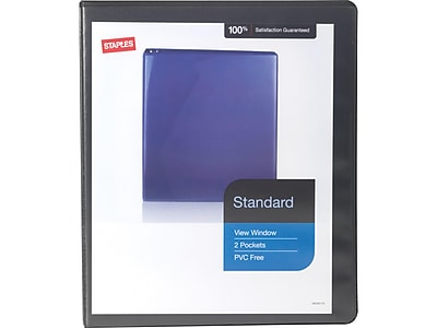 "Staples Standard 1/2"" 3-Ring View Binder, Black (26425-CC)"