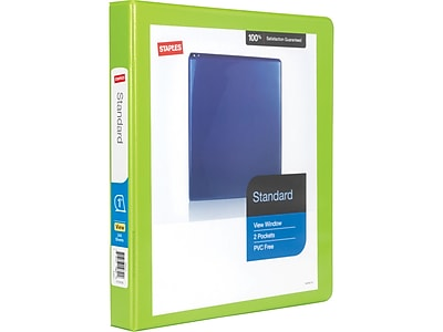 """Staples Standard 1"""" 3-Ring View Binder, Chartreuse (26435-CC)"""