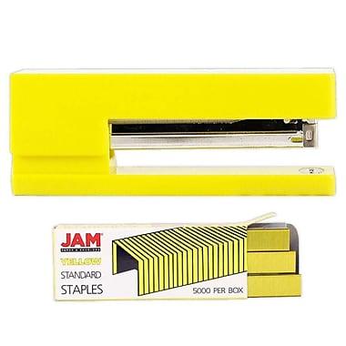 JAM Paper – Ensemble de travail et de bureau, agrafeuse et boîte d'agrafes, jaune (3375YEYE)