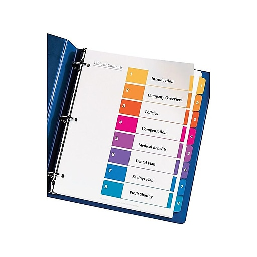 Avery 8-Tab Ready Index Multicolor Table Of Contents