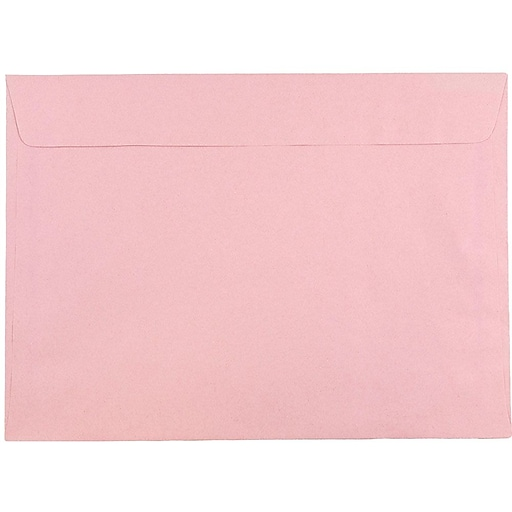 JAM Paper® 9 x 12 Booklet Envelopes, Baby Pink, 100/Pack (31512738c)