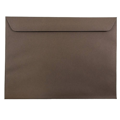 JAM Paper® 9 x 12 Booklet Envelopes, Chocolate Brown Recycled, 50/Pack (572315992i)