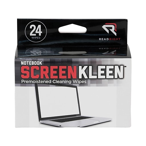 Read Right ScreenKleen Laptop Screen Cleaning Wipes, 24/Box (RR1217)