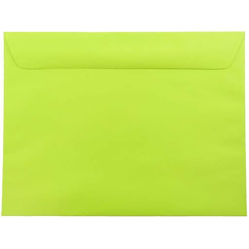 JAM Paper® 9 x 12 Booklet Catalog Colored Envelopes, Ultra Lime Green, 50/Pack (5156771i)