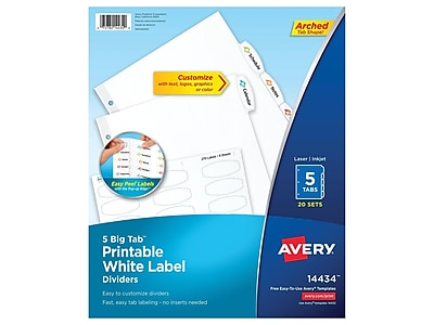 picture about Printable Tabs known as Avery Large Tab Print Put into practice Label Dividers, 5-Tab, White, 20 Sets/Pack (14434)