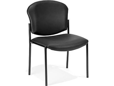 OFM Manor Vinyl Guest Chair, Black (408-VAM-606)
