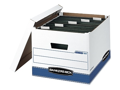 Bankers Box Hang-N-Stor Medium Duty Corrugated Boxes, Letter/Legal Size, White/Blue, 4/Carton (00785)