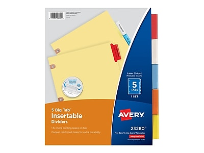 Avery Big Tab Insertable Paper Dividers, 5-Tab, Buff with Assorted-Color Tabs, Set (23280)