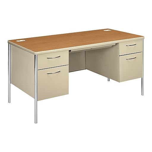 "HON Mentor 60"" Double Pedestal Desk, Harvest (HON88962CL)"