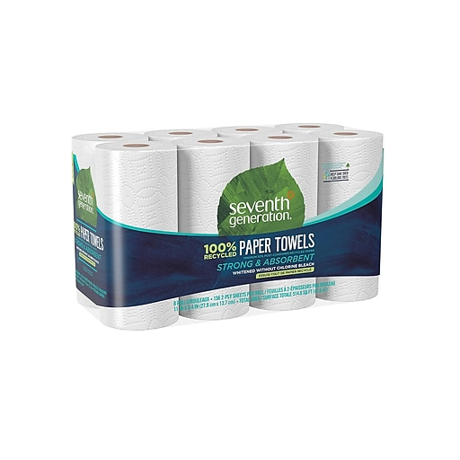 Seventh Generation Kitchen Roll Paper Towels, 2-Ply, 156 Sheets/Roll, 8 Rolls/Pack (13739PK)