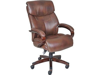 La Z Boy Bradley Leather Executive Office Chair Fixed Arms Brown
