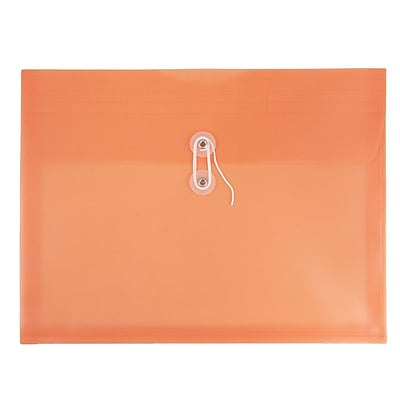 JAM Paper® Plastic Envelopes with Button and String Tie Closure, Letter Booklet, 9 3/4