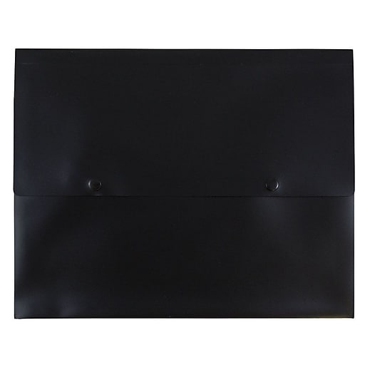 JAM Paper® Plastic Portfolio Envelopes with Two Button Snap Closure, 10 x 12.5 with 1 Inch Expansion, Black, 12/Pack (79431766b)