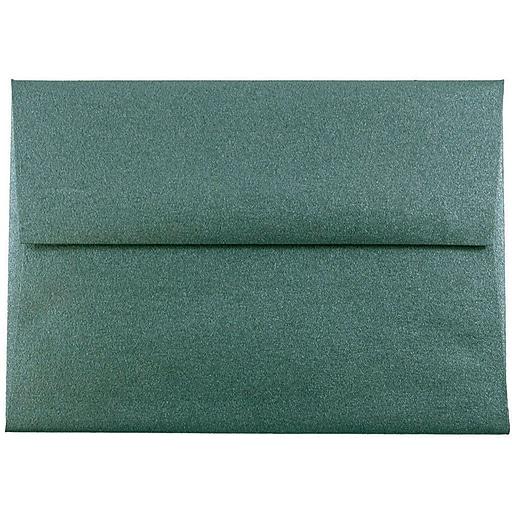 JAM Paper® A2 Metallic Invitation Envelopes, 4.375 x 5.75, Stardream Emerald Green, Bulk 500/Box (67531722c)