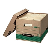Bankers Box® Medium-Duty Recycled FastFold File Storage Boxes, Lift-Off Lid, Letter/Legal Size, Brown, 12/Carton (12770)