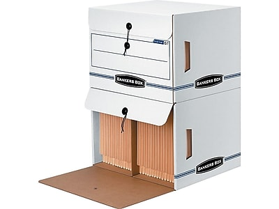 Bankers Box Side-Tab Basic Duty Drop-Front Corrugated Boxes, Letter Size, White/Blue, 12/Carton (00061)