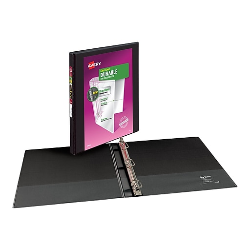 "Avery Durable 1/2"" 3-Ring View Binder, Black (17001)"