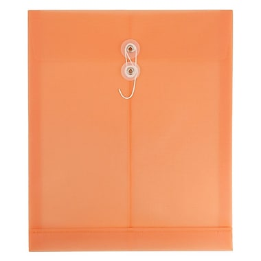 JAM Paper® Plastic Envelopes with Button & String Closure, Letter, 9 3/4