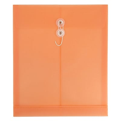 JAM Paper® Plastic Envelopes with Button & String Closure, Letter Open End, 9 3/4