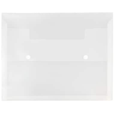 JAM Paper - Porte-doc. plastique, fermeture à 2 boutons pression, ext. de 1 po, format livret, 10 x 12,5 po, transp. (79431767)