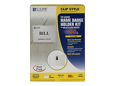 C-Line ID Badge Holders/Cards, Clear with White Inserts, 50/Box (95543)