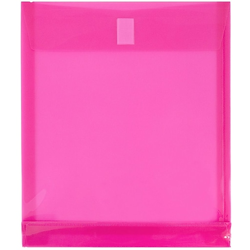 JAM Paper® Plastic Envelopes with Hook & Loop Closure, 9.75 x 11.75 with 1 Inch Expansion, Fuchsia Pink, 12/Pack (118V1FU)