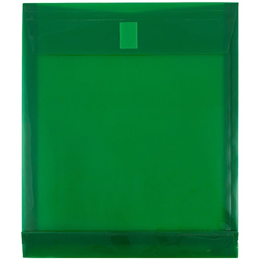 JAM Paper® Plastic Envelopes with Hook & Loop Closure, 9.75 x 11.75 with 1 Inch Expansion, Green, 12/Pack (118V1GR)
