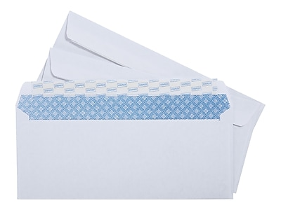 """Staples EasyClose Security Tinted Business Envelopes, 4 1/8"""" x 9 1/2"""", White, 100/Box (50308)"""
