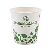 Sustainable Earth by Staples Hot Cups, 10 oz., White/Green, 50/Pack (SEB28993/26218)