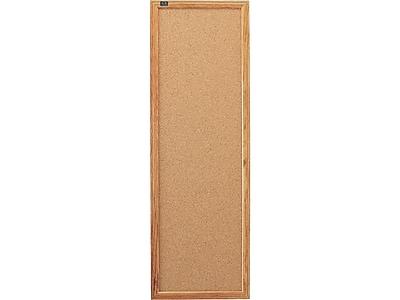 Quartet Classic Cork Bulletin Board, Oak Frame, 3'H x 1'W (300)