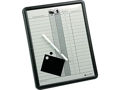 Quartet Magnetic Porcelain In-Out-Board, Black Frame, 1' x 1' (QRT750)
