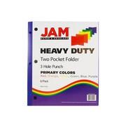 JAM Paper Heavy Duty 2-Pocket Presentation Folders, Assorted Colors, 6/Pack (383HHPrgbypbl)