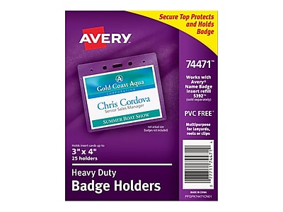 picture about Avery Printable Vinyl named Avery Identity Badge Holders, Distinct, 25/Pack (74471)