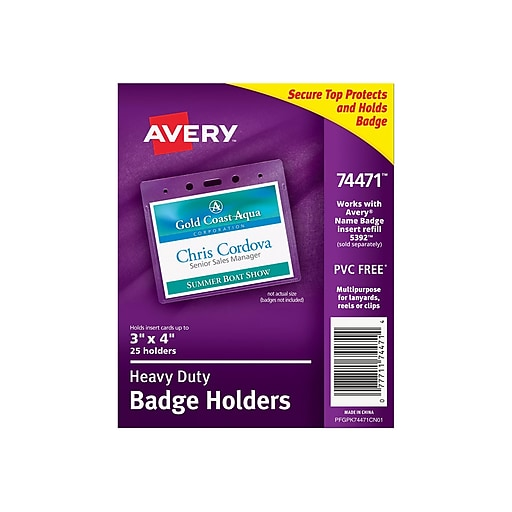 53bc421adc01 Avery ID Badge Holders, Clear, 25/Pack (74471)