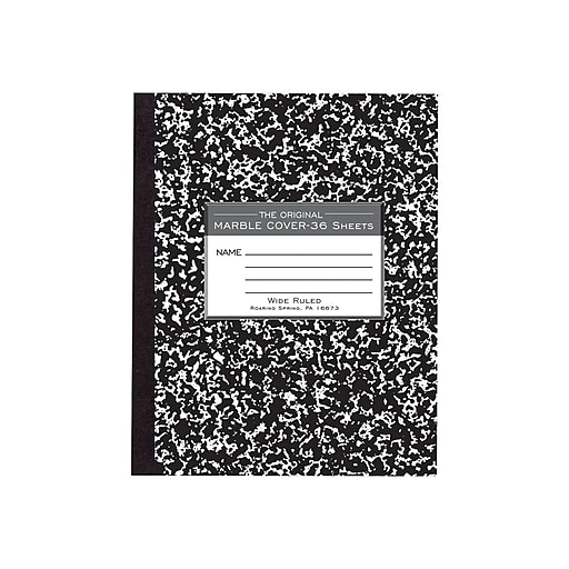"Roaring Spring Composition Notebook, 7"" x 8.5"" Wide Ruled, 48 Sheets, Black Marble (77333)"