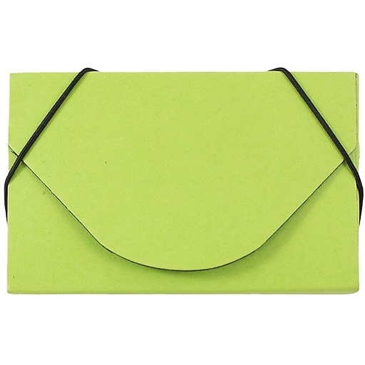 JAM Paper® Colorful Business Card Holder Case with Round Flap, Matte Lime Green Chipboard, Sold Individually (369031719)