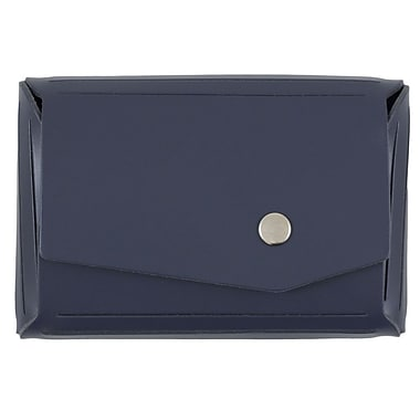 JAM Paper® Leather Business Card Case with Snap Closure, Angular Flap, Navy Blue (233331744)