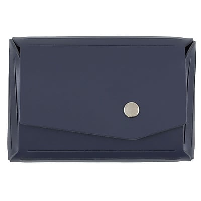 JAM Paper® Leather Business Card Case with Snap Closure, Angular Flap, Navy Blue, Sold Individually