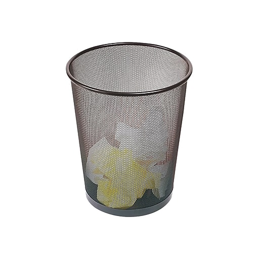 Brighton Professional Indoor Trash Can Without Lid, Black Steel Mesh, 5  Gal  (22182)