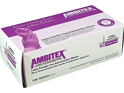 Ambitex L200 Series Powder-Free Cream Latex Gloves, Small, 100/Box, 10 Boxes/Carton (LSM200)