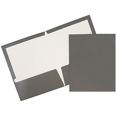 JAM Paper® Glossy Two Pocket Presentation Folder, Grey, 25/box