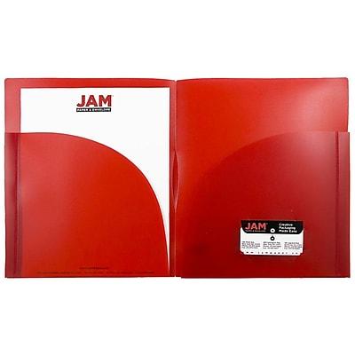 JAM Paper® Plastic Expansion Two Pocket Folders, Red, 6/pack