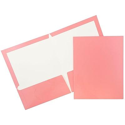 JAM Paper® Glossy Two Pocket Presentation Folders, Baby Pink, 50/box (31225348c)