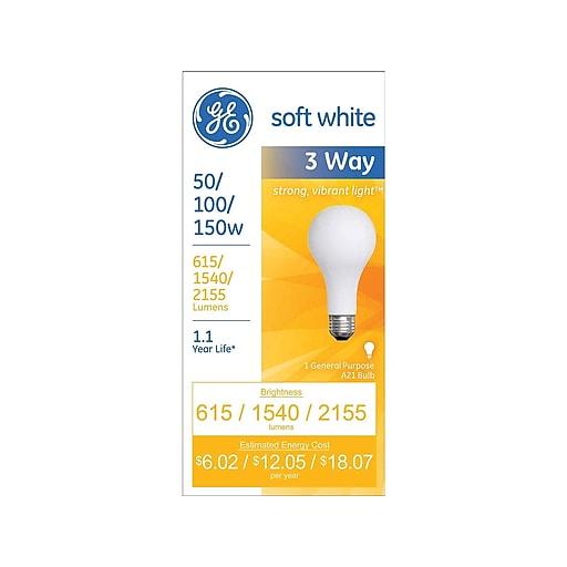 Ge Lighting 3 Way 50 100 150 Watts Soft White Incandescent Bulb 97494