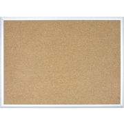 U Brands Basics Cork Bulletin Board, Silver Frame, 4' x 3' (022U00-01)