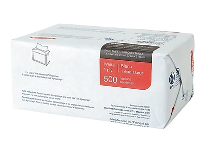 Staples Tork Xpressnap Luncheon Napkin, 1-Ply, White, 4000/Carton (26969CT/50580CT)