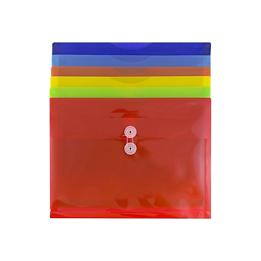 JAM PAPER Plastic Filing Envelopes with Button & String Tie Closure, Letter Size, Assorted Colors, 6/Pack (218B1RGBOYP)