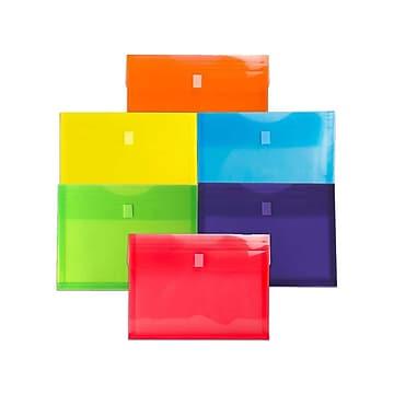 JAM Paper® Plastic Envelopes with Hook & Loop Closure, Letter Size, Assorted Colors, 6/Pack (218V1RGBYPOR)